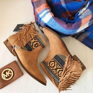 Zara fringe leather booties